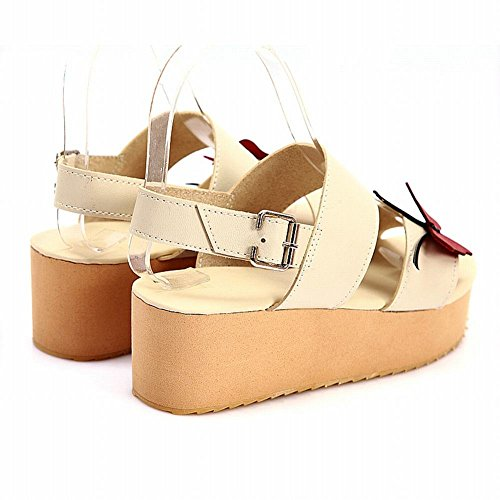 Mee Shoes Damen modern süß bequem backstrap Schnalle mit Schmetterling-Dekoration Durchgängiges Plateau Sandalen Beige