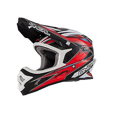 O'Neal 3Series MX Helm Hurricane Schwarz Rot Moto Cross Motorrad Enduro, 0603H-3, Größe X-Large (61 - 62 cm)