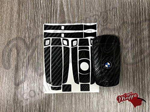 Rivestimento a pellicola per guscio chiave, effetto fibra di carbonio, compatibile con vetture BMW Serie 1, 3, 5 e 6 dei modelli Z4, X1, X3, X5, X6 e M, colore: nero