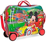 Mickey Roadster Racers, Valigia Trolley per bambini Cavalcabile, 50 cm, 34 liters, Multicolore (Multicolor)