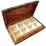 Wooden Handmade Jewellery Box Cufflink Earring Trinket Organiser Curved Edge Design 8 Compartments Cream Velvet Lined