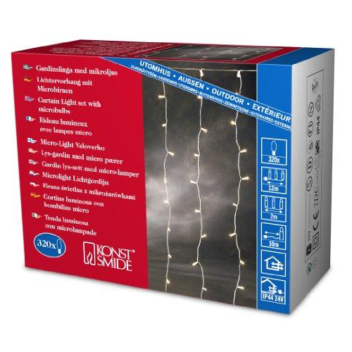 Konstsmide 3705-003 Microlight Eisregen Lichtervorhang/für Außen (IP44) / 24V Außentrafo / 320 klare Birnen/transparentes Kabel