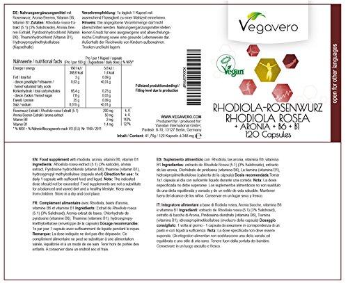 51XxGF77W2L - PARENT: Rhodiola Rosea Vegavero | con Aronia - Vitamina B6 - B1 | Pianta naturale contro Stress - Stanchezza - Sbalzi di Umore - Deficit di Concentrazione | Completamente Naturale e Vegetale | Certificazione di Qualità