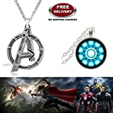 (2 Pcs AVENGERS SET) - AVENGERS SILVER LARGE LOGO & IRONMAN ARC REACTOR (SLV2) 3D SMALL GLASS DOME IMPORTED METAL PENDANTS WITH CHAIN. LADY HAWK DESIGNER SERIES 2018. ❤ ALSO CHECK FOR LATEST ARRIVALS - NOW ON SALE IN AMAZON - RINGS - KEYCHAINS