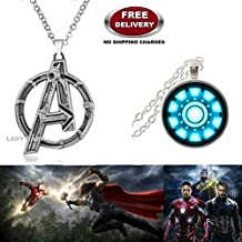(2 Pcs AVENGERS SET) - AVENGERS SILVER LARGE LOGO & IRONMAN ARC REACTOR (SLV2) 3D SMALL GLASS DOME IMPORTED METAL PENDANTS WITH CHAIN. LADY HAWK DESIGNER SERIES 2018. ❤ ALSO CHECK FOR LATEST ARRIVALS - NOW ON SALE IN AMAZON - RINGS - KEYCHAINS - NECKLACE - BRACELET & T SHIRT - CAPTAIN AMERICA - AVENGERS - MARVEL - SHIELD - IRONMAN - HULK - THOR - X MEN - DC - BATMAN - SUPERMAN - SPIDERMAN - DEADPOOL - FLASH - WONDER WOMAN - BLACK PANTHER - DOCTOR STRANGE - SUPER HERO ❤