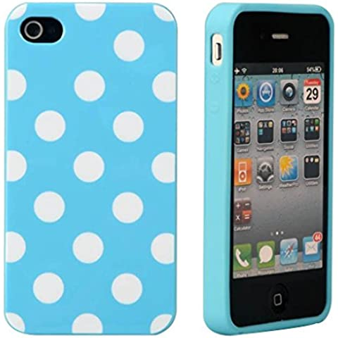 SPRAWL@ Super Cute Design silicone PROTEZIONE Case / Custodia / Custodie / Skin / GUSCIO Per Mobilephone Apple IPHONE 4 4G 4GS- Polka Dot Pois Blue Blu/White Bianco