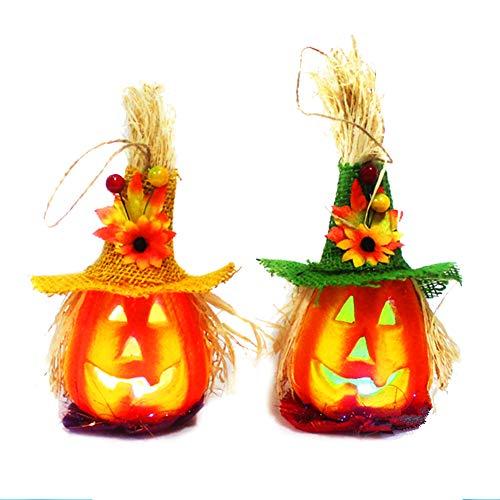 2ST Netter Halloween-Light Up Jack Kürbis Flashing Laterne Dekorative Foam Halloween Props Große Geisterhaus-Halloween-Dekoration (Gelber Hut und grüner Hut)