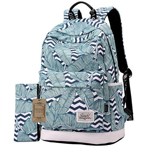 Mocha weir JIAYBL Schultern Kinder Schultaschen Rucksack Hochschule Mädchen Canvas Pack reisen (Erdbeere) grüne Blätter