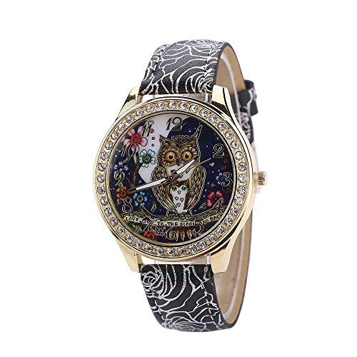 Herren Armbanduhr ALIKEEY Männliche und weibliche Universal-Karikatur-Eulen-Paar-Modell-Diamant-Quarz-Uhr Quarzuhr Männer Edelstahl Mesh Business Fashion Armbanduhr Mann Runde