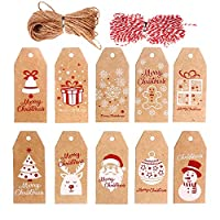 VEYLIN 100 Pieces Christmas Kraft Gift Tags Xmas Present Hanging Labels with String for Gift Decorations(Assorted 10 Styles)
