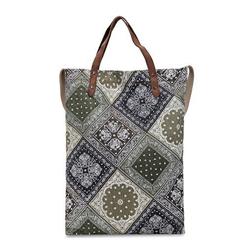 Asdflina Mode Leisure Retro Große Kapazität Druck Commuter Bag Canvas Handtasche Geeignet für den täglichen Gebrauch
