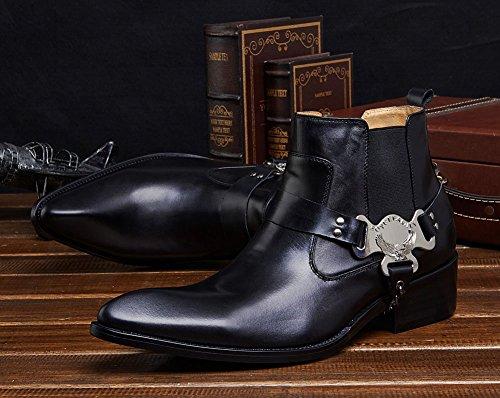 Wuf Cowboy Cheville Bottes En Cuir Homme Black