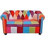 Festnight Chesterfield-Sofa 2-Sitzer Sofa Loungesofa Couch Stoffsofa Holzrahmen Sitzkomfort für Heim oder Büro