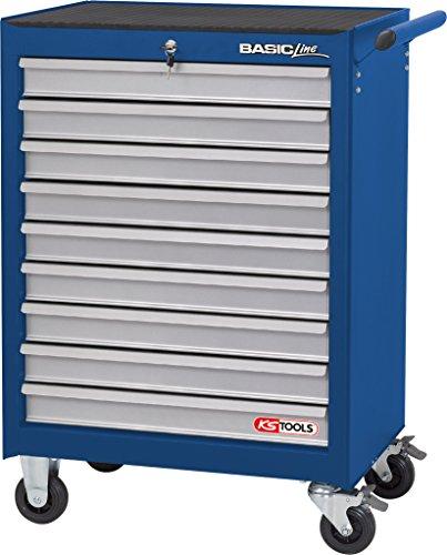 KS Tools 837.0009 BASICline Werkstattwagen, mit 9 Schubladen, blau/silber