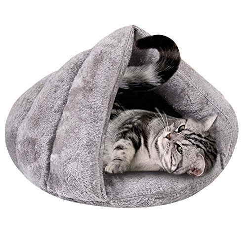Baffect Saco de Dormir para Cama de Animal doméstico, Cueva de Gato Cama de iglú Suave y Cálida Almohadilla de Colchón Cojín para Gatos Perros Cachorros Gatitos y Otros Animales Pequeños L (Gris)