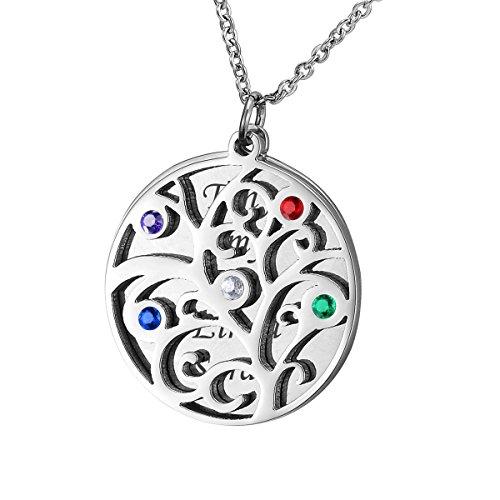 HOUSWEETY Edelstahl-Halskette-Namenskette mit Geburtssteinen - Personalisiert mit fuenf Namen