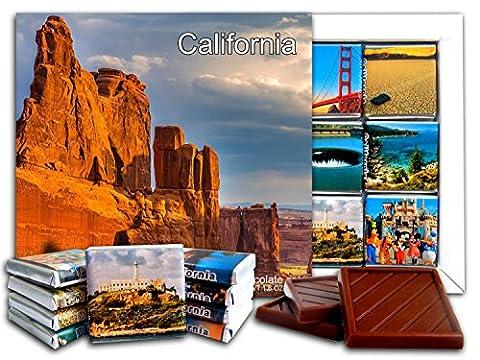 DA CHOCOLATE Cadeau de Chocolat ÉTAT DE CALIFORNIA 13x13cm 1 boîte (Cliffs)