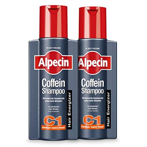 Alpecin Coffein-Shampoo C1, 2 x 250 ml - Beugt erblich bedingtem Haarausfall vor, für fühlbar mehr Haar (Haarausfall Männer Shampoo)