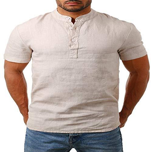 YURACEER Herren Sommer Short-Sleeve Männer Baggy Baumwolle Leinen SOID Farbe Kurzarm Retro T Shirts Tops Bluse x1 L -