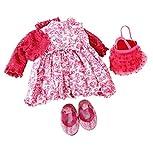 Vestito con fiori e scarpe con paillette per bambole da 45 a 50 cm