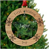 PERSONALISED First Christmas Dog/Cat (any pet) Xmas Tree Decoration Bauble Ornament Gifts - Cherry Veneer and Acrylic Engraved Christmas Tree Ornament - Keepsake Christmas Gifts Presents