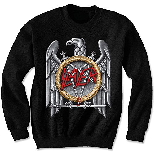 Slayer Silver Eagle Puff Print Blk Sweat: Medium (Eagle Slayer)