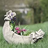 """Mondschale """"LUNA"""", Steinguss Gartenskulptur, B/H: 46/44cm, wetterfeste Figur für den Außenbereich"""