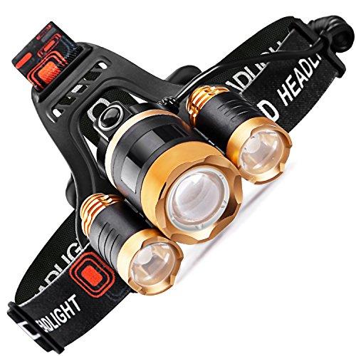 STCT LED Stirnlampe USB wiederaufladbare superhell Kopflampe, 4 Helligkeiten zu wählen, 5000 Lumen wasserdicht Stirnlampen Kopflampen, Batterie betriebene LED Headlight,ideal für Laufen Wanderung