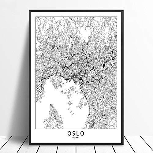 Cuadro En Lienzo,Oslo Negro Blanco Mundo Custom Mapa