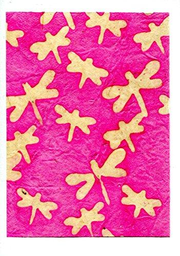 Grußkarte gewachstes Nepal Papier, Schmetterlinge, Rosa Creme (Creme Kimono)