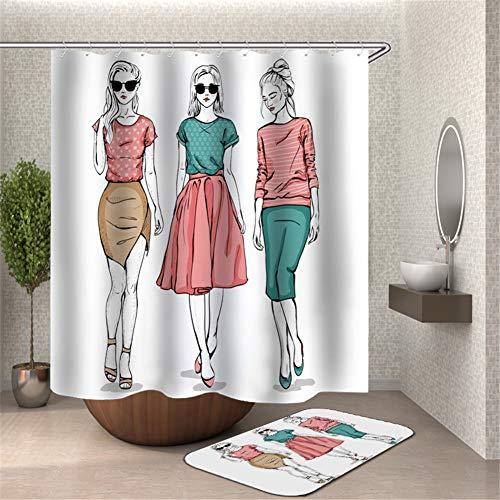 Stilvolle Dekoration. DREI Mädchen In Verschiedenen Kostümen. Duschvorhang. Wasserdicht. 180X180Cm. Teppich. Plus Samt. 40X60Cm. (Meer Schwamm Kostüm)