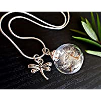 Dragonfly Dandelion Necklace STERLING SILVER chain Gift Box - Dragon Fly Charm Dandelion Pendant Flower Summer Jewelry Friendship Gift Butterfly Jewelry Jewellery for Mother's Day