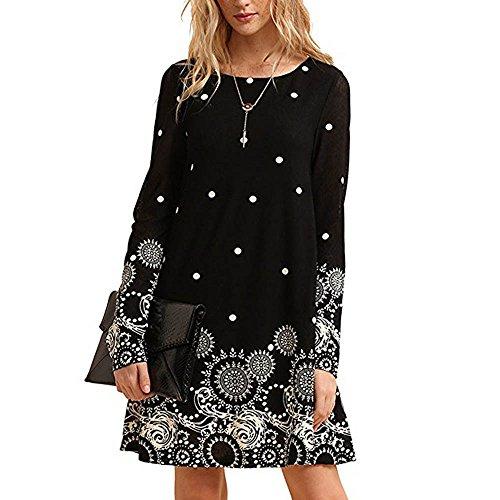 (MRULIC Damen Elegante Chinesische Art Kleid Kostüm 3/4 Ärmel Lässig Fließenden Print Swing T-Shirt Tunika Kleid(X-Schwarz,EU-42/CN-XL))
