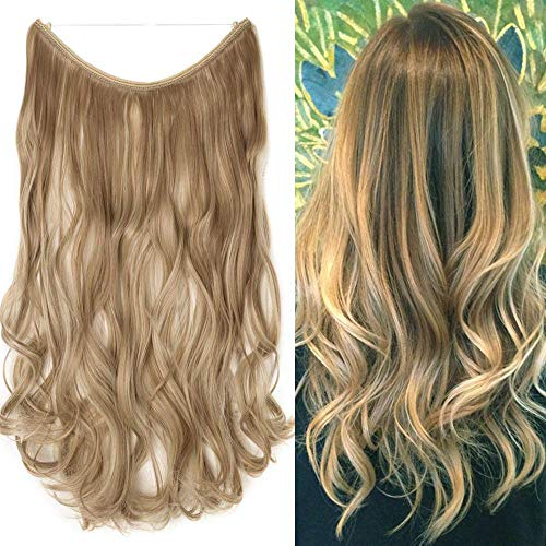 Extension capelli con filo invisibile 50cm fascia unica extensions bionde wire capelli sintetici ricci mossi 90g biondo rossiccio mix biondo decolorante