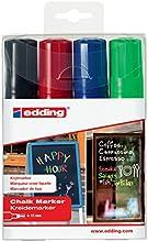 Edding 4090 - Rotulador de tiza (4 - 15 mm), color negro, rojo, azul y verde