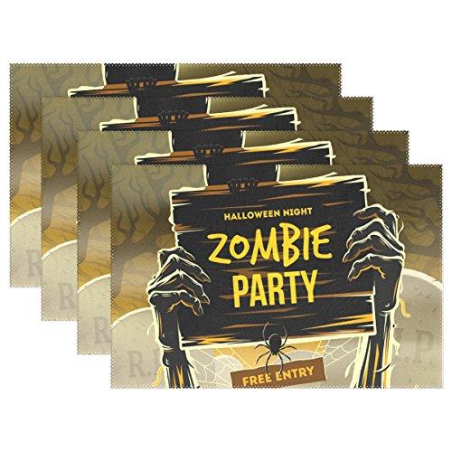 COOSUN Halloween Toten Mannes Arme vom Boden aus mit Einladung zu Zombie Party Platzdeckchen, hitzebeständige Platzdeckchen Stain Resistant Anti-Blockier-System Waschbar Polyester Setzer Nicht Beleg