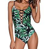 CICIYONER Damen Einteiler Badeanzug Bademode Floral Monokini Push Up Bikini Beachwear