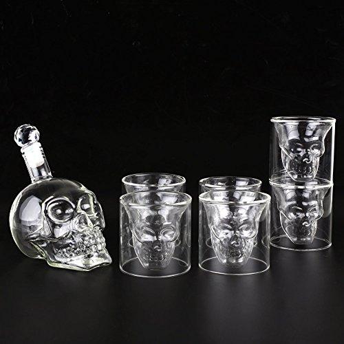 Amzdeal Skull Glas Flasche, Totenkopf Flasche 350ml mit 6 Schädel Gläser 75ml, Schädelflasche mit Whisky Vodka oder Schnapsgläser - 6