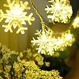 CALISTODE Lichterketten, Innen Starry-Schnur-Licht Schneeflocke Lichter Kristall-Licht f¨¹r Garten Weihnachten nach Hause Wedding Schlafzimmer Bar Tanzen-Disco-Dekor 20 LED 2,5m Batteriebetrieben