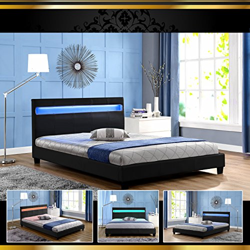 STELLA LED Schwarz 180x200cm Polsterbett Doppelbett Bettgestell Bettrahmen mit Lattenrost