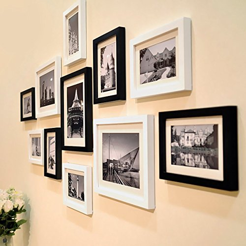 Wall Photo Frame City View Paris Black And White Theme Large Photo Frame Set Of 11 Wooden Frames (135 Cm X 2 Cm X 70 Cm) By Paper Plane Design By Paper Plane Design