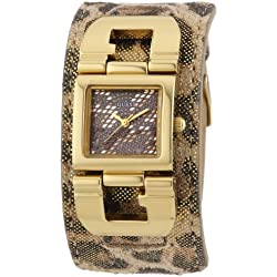 Guess W0054L2 Cuff-G Women's Quartz Analogue Watch-Leather Strap Multicolour Dial, Multi-color (Brown)