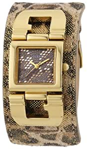 Guess - W0054L2 - G Cuff - Montre Femme - Quartz Analogique - Cadran Multicolore - Bracelet Cuir Multicolore (Marron)