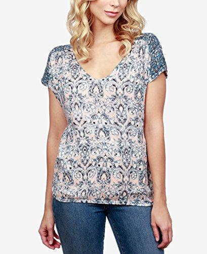 Lucky Brand Women's V-Neck Peasant Top Multi Shirt (V-neck Raw Tee Edge)