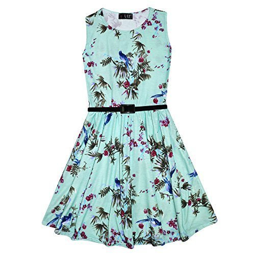 girls-skater-dress-kids-floral-mint-abstract-belted-summer-party-dance-dresses-age-7-8-9-10-11-12-13