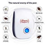 #6: Ultrasonic Pest Control Repeller, Banggood Home Ultrasonic Pest Repellent Reject Electronic Plug In Insect Repellent for Mosquito, Mouse, Cockroaches , Rats, Bug, Spider, Ant, Flies, Non-toxic and Eco-friendly for Indoors Outdoors