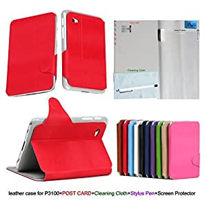 "HOTSALEUK Samsung Galaxy Tab 2 7.0 Leather Case Cover and Flip Stand, Bonus: Screen Protector + Stylus Pen + Clean Cloth (for Galaxy Tab 2 7"" INCH P3100 P3110) (RED)"