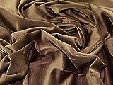 Uni Samt Velours Kleid Stoff Medium braun–Meterware