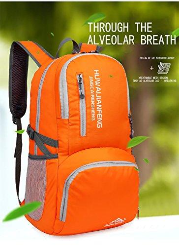 LJ Sport Unisex Outdoor Faltbarer 40L Rucksack Wasserdicht für Reisen Wandern Camping Radfahren Orange