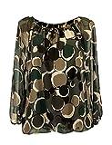 Moda Italia Damen Bluse Aus Chiffon in Carmen Style mit Polka Dots Tupfen Elegante Pump Ballonbluse Mehrfarbig 40 42 46